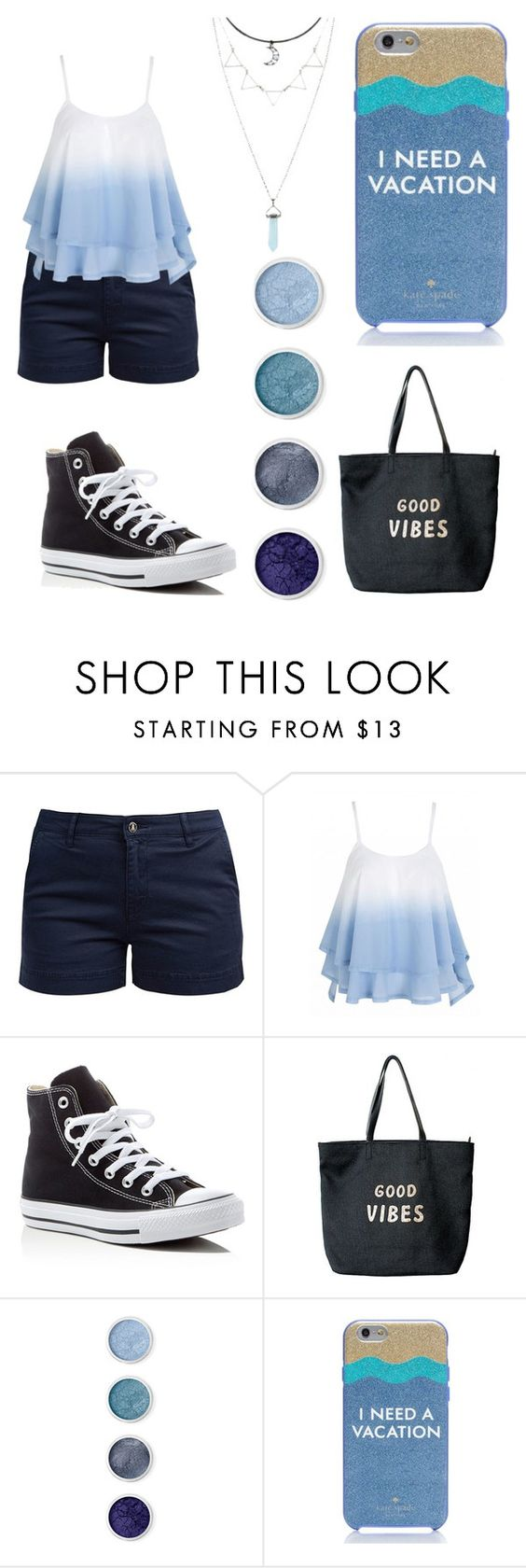 """""""Feeling Blue"""" by lindzaylove ❤ liked on Polyvore featuring Barbour, Converse, Venus, Terre Mère and Kate Spade"""