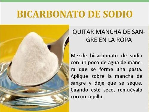 Remedio Natural: Como usar bicarbonato de sodio para quitar mancha de sangre en la ropa. Revista 400 agosto 2014 #Revista400 #DesarrolloSustentable @400revista