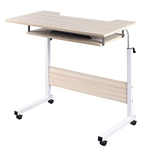 Pueepdee Jj Home Office Desks Wood Computer Desks Trolley Table With Keyboard Tray And Storage Shelves Fo Wood Computer Desk Wood Office Desk Home Office Desks
