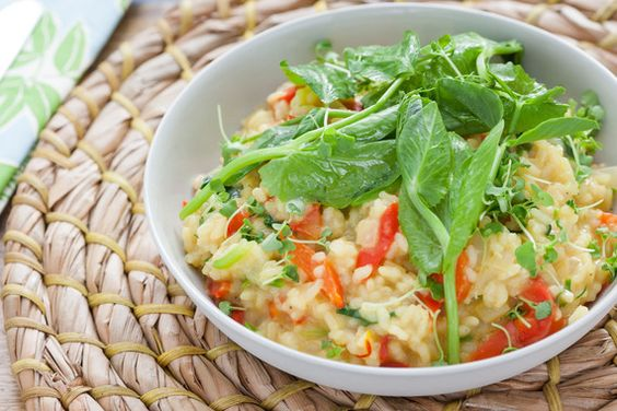 Lemon & Pea Tendril Risotto with Saffron & Microgreens