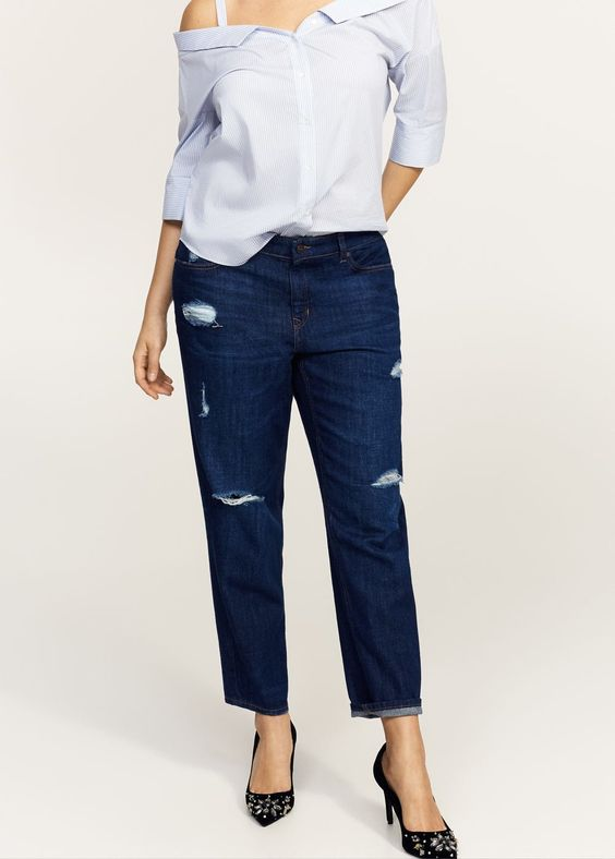 Jean girlfriend claudia - Jeans  Grandes tailles | Violeta by MANGO France