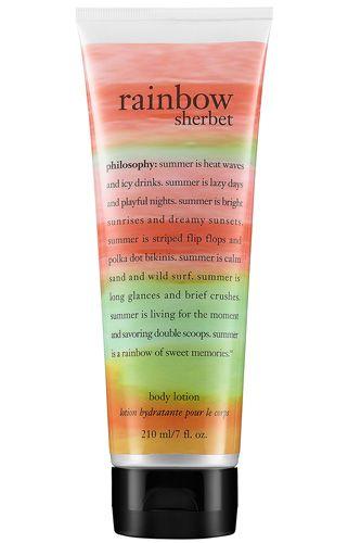 Philosophy Rainbow Sherbert body lotion - I can't seem to finish mine. I love it but I have sooo many creams.