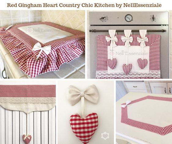 Red Gingham Heart Country Chic Kitchen Decor by NellEssenziale