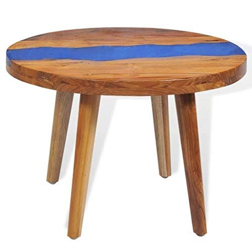 Daonanba Round Coffee Table Study Side Table Wood Furniture Living Room Round Coffee Table Teak Coffee Table