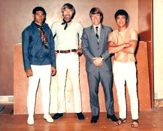 Mike Stone, Chuck Norris, James Coburn, and Bruce Lee from 1969