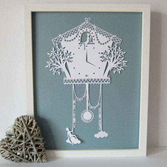 Cuckoo Clock Papercut @ Etsy: