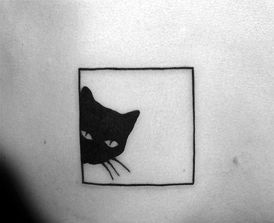 Square Box Simple Mens Cat Tattoo Ideas Cat Tattoo Simple Cat Tattoo Designs Cat Outline Tattoo