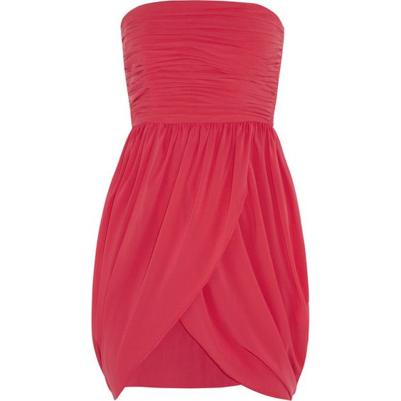 Alice + Olivia Amberley stretch-silk georgette dress (1,425 MXN) ❤ liked on Polyvore featuring dresses, vestidos, robes, short dress, bright pink, short fitted dresses, loose mini dress, ruched dress, fitted dresses and short red dress