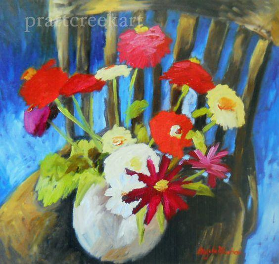 zinnias on chair print by angela moulton of by prattcreekart, $10.00