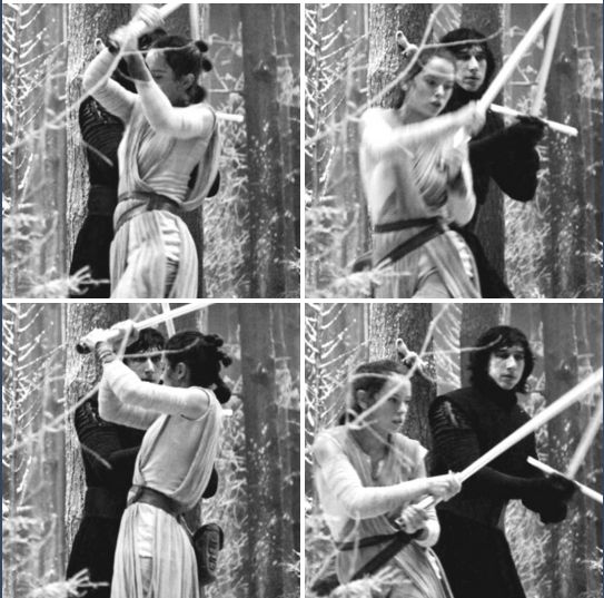 """Imagine that Rey finally accepts to stay with Kylo and be his apprentice, and these are the pics of him training her."""