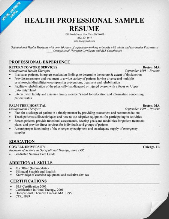 Health Professional Sample Resume (http\/\/resumecompanion - occupational therapy resumes