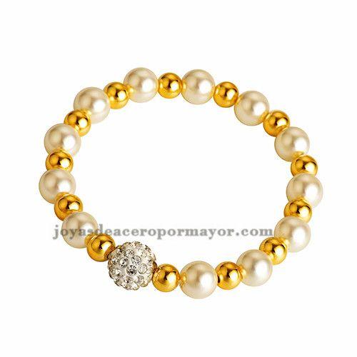 pulsera de perla combinar bola dorado y cristal para mujer- SSBTG412968