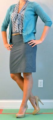Outfit Posts: outfit post: blue tie blouse, grey skirt, teal cardigan