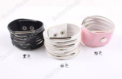 1pc wholesale Korean Style 8.6 White PU Leather Multilayer Wide Womens Bracelet Bangle