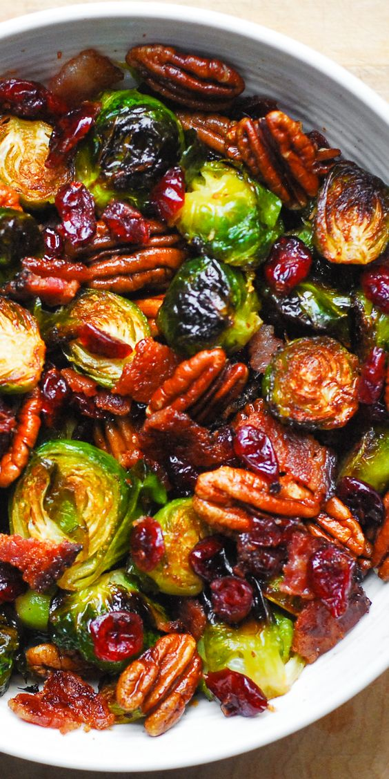 Roasted Brussels Sprouts with Bacon, Toasted Pecans, and Dried Cranberries