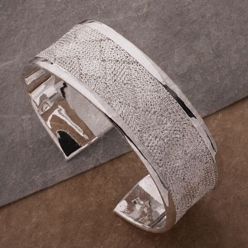 Josephine Bangle Bracelet a Woven Mesh in High Silver Polish