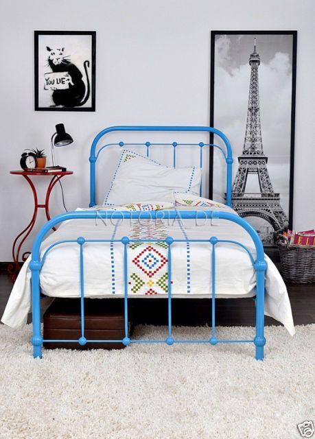 Details zu AMITA Eisenbett Metallbett Blau Design Bett Bettgestell ...