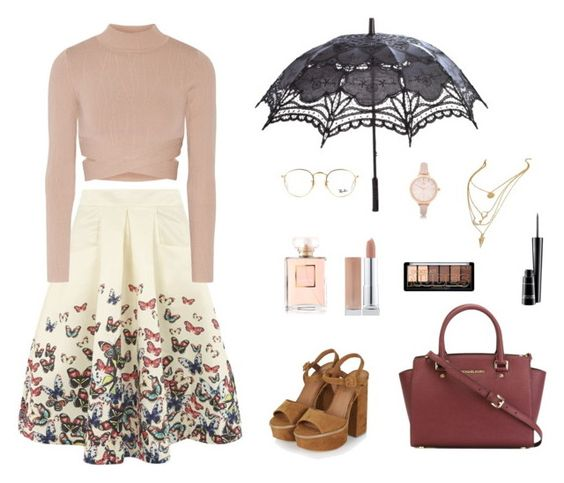 """""""Untitled #129"""" by anickak ❤ liked on Polyvore featuring Jolie Moi, Jonathan Simkhai, Topshop, MICHAEL Michael Kors, Ray-Ban, River Island and MAC Cosmetics"""
