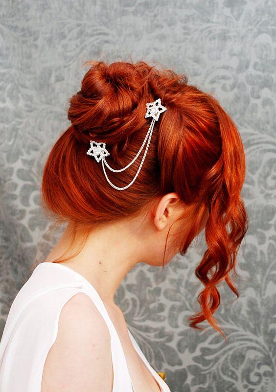 Shooting stars - rhinestone star hair picks | Twisted bun ...