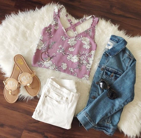 IG @monica__grace // www.babblesandbliss.com // lifestyle blogger - // casual summer or spring outfit, lilac floral crossback tank from tj maxx, old navy denim jacket, madewell high-rise white denim, nine west sunnies, + monogram sandals from amygracemonograms