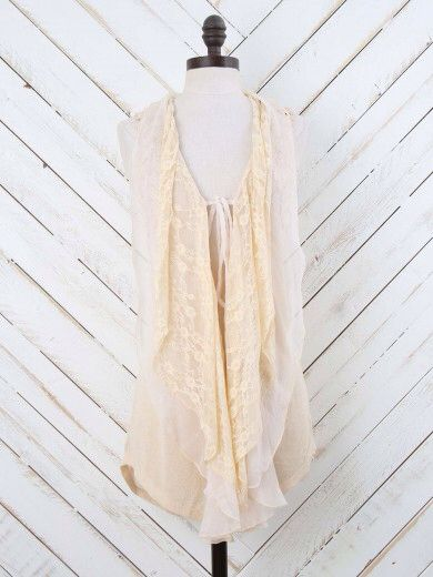 Boho lace layering vest. Altar'd State