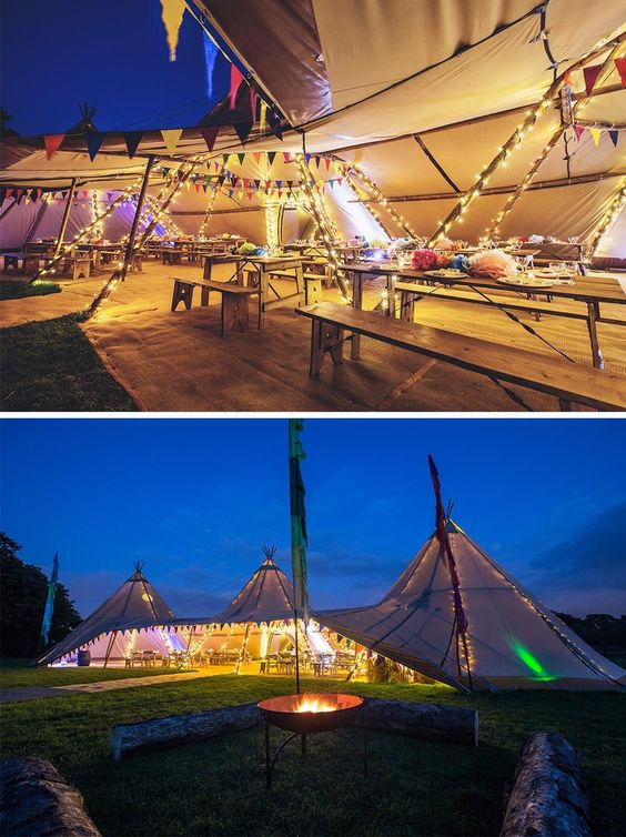 Inside and outside of tent wedding venue