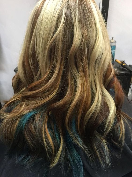 Blonde balayage with blue/teal underneath