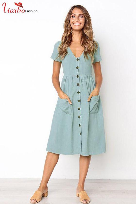 Womens Casual Solid Color Pocket Summer Ladies Short Sleeve Evening Party Midi Dress Fashion Beachwear Dress with Belt Loose Blend Cotton Short Sun Dress