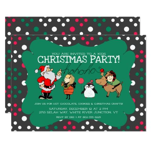 Whimsical Kids Christmas Party Invitation Zazzle Com
