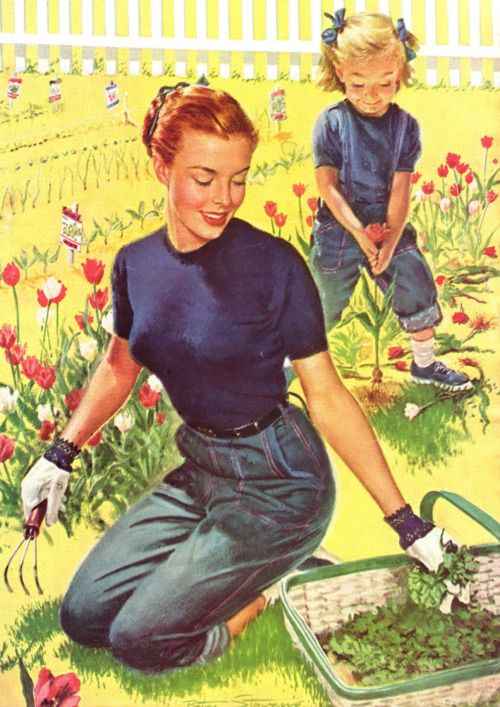 "Helping mommy ""weed"" in the garden :) #vintage #mom #mother #daughter #child #garden #vintage #homemaker #housewife:"