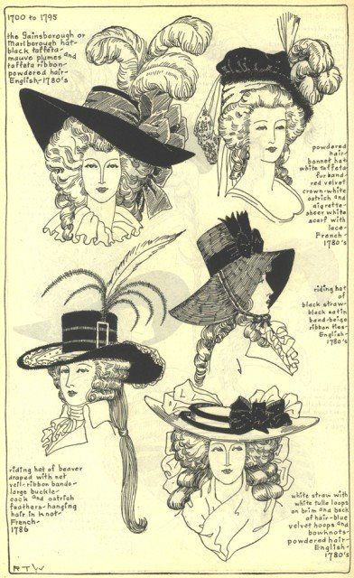 Hairstyles from 1700 to 1790 featuring different styles of hats.  The cavalier styled hats became somewhat of a fashionable staple.