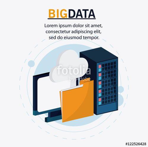 ベクター: Computer file and cloud icon. Big data center base and web hosting theme. Colorful design. Vector illustration点