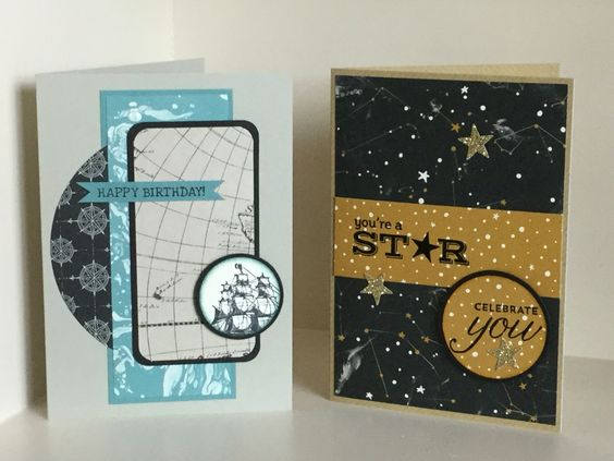 Two cards featuring the new SU Designer Paper Pad -Going Places. Also featuring the ship stamp from The Open Sea, and sentiment stamps from various stamp sets - created by Julia Jordan