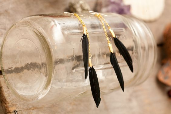 press Feathers | Image of long double black feather earrings