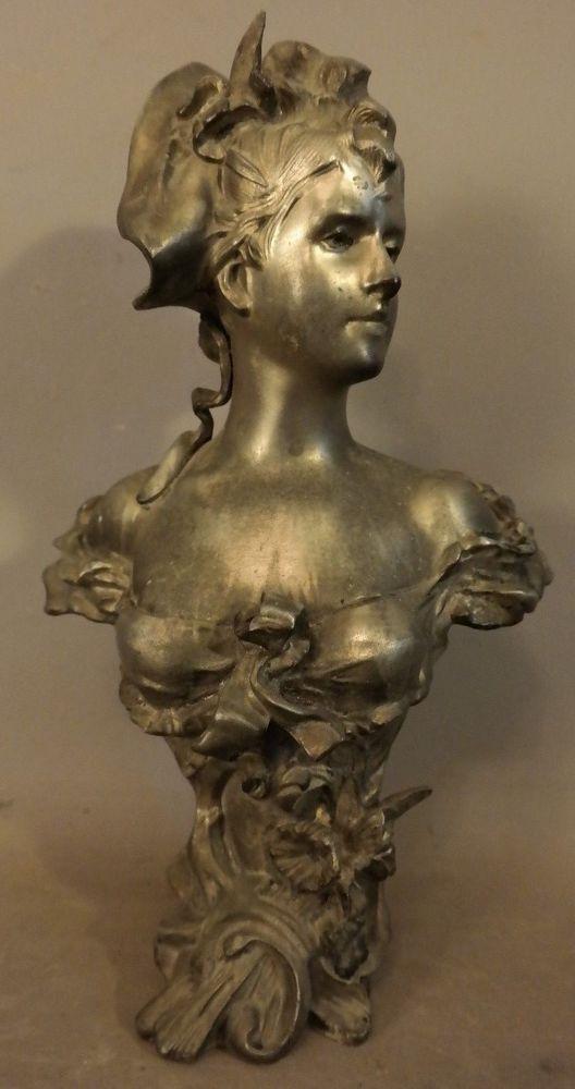 Antique Art Nouveau Era Victorian Lady Bust Old Shelf Sculpture Mantel Statue Ebay Sculpture Art Art Statue