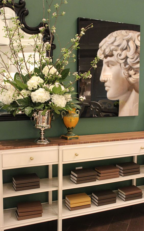 """Stanley Furniture- 200 North Hamilton From the brand new Charleston Regency Collection Carolina Sofa Table Item #-302-25-07 Finish: Ropemakers White with clear walnut top 84""""W x 12 1/4""""D x 34""""H #HpMkt  #stylespotters The ultimate table for a narrow space."""