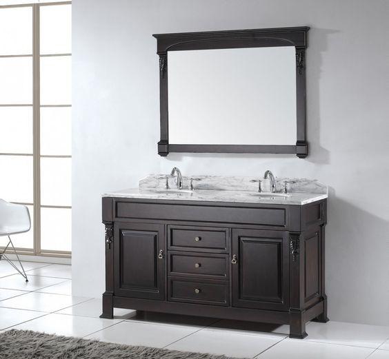 [Bathroom] : Great Design For Bathroom Remodel Other Virtu Usa Huntshire 90 Inch Double Bathroom Vanity In Dark Walnut W Italian Carrara White Marble Top Marble Bathroom Vanities Wooden Cabinet