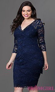 Buy Knee Length V-Neck Lace Dress with 3/4 Length Sleeve by Jump at PromGirl