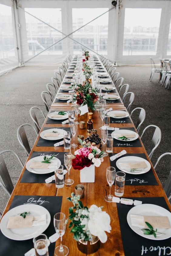 Modern long tablescape: http://www.stylemepretty.com/2016/04/08/a-navy-yard-wedding-with-boston-skyline-views/   Photography: Dylan and Sara - http://dylandsara.com/