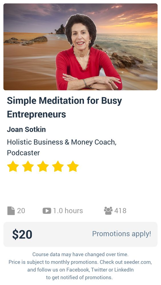 Simple Meditation for Busy Entrepreneurs | Seeder offers perhaps the most dense collection of high quality online courses on the Internet. Over 13,800 courses, monthly discounts up to 92% off, and every course comes with a 30-day money back guarantee.