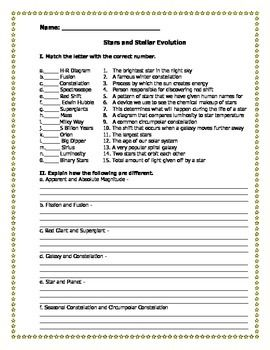 Printables Work Sheet Of Evolution Course evolution homework answers this stars stellar worksheet has matching terms and several additional the students pinterest world s catalog of ideas