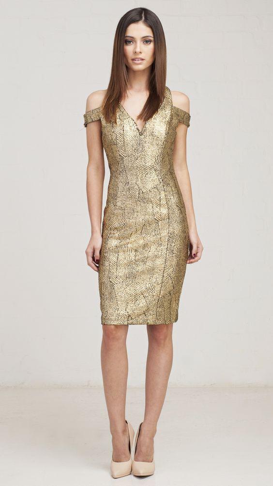 Cutout Off Shoulder Gold Party Dress - -- party party ...