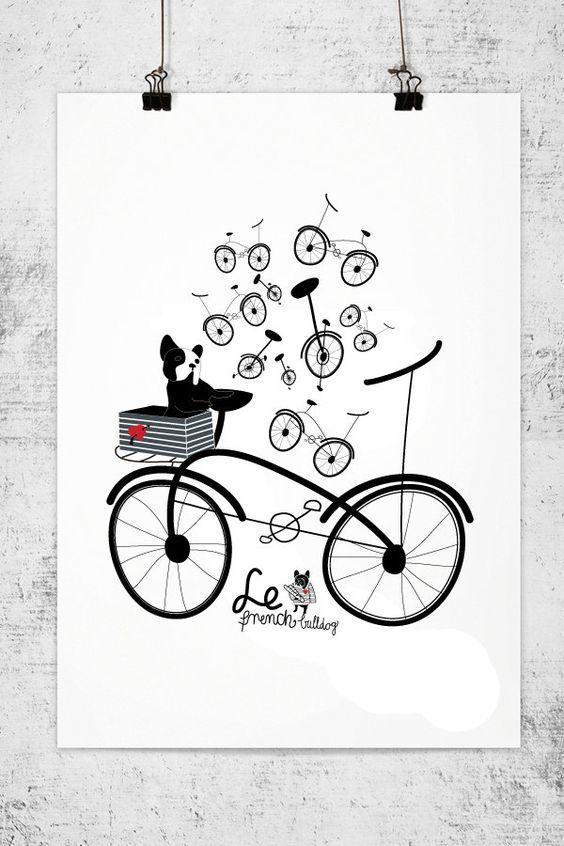 FRENCH BULLDOG and bike - france - dog print - Frenchie - Bouledogue Francais - french bulldog art print. $20.00, via Etsy.