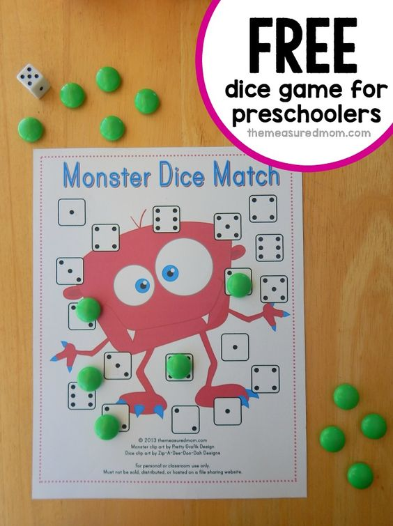 Looking for a preschool math game?  We love this monster dice game.  Get four free game boards!: