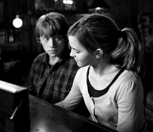 The piano scene between Ron and Hermione spoke to me more than the kiss between them. We waited in anticipation for 10 years for that kiss and it was a bit disappointing, but the look on his face during the piano scene is so much more empowering that any disappointments areforgotten.