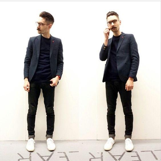 black suit black sweater black white sneakers