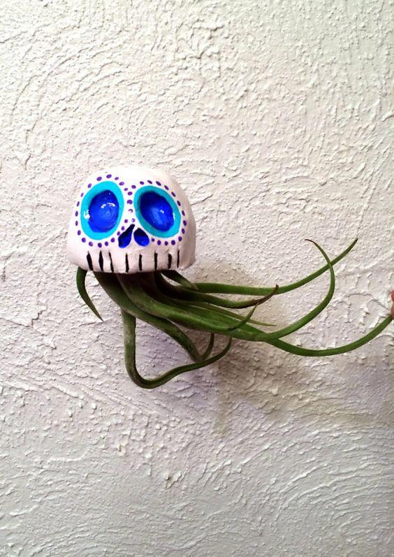 Air Plant Skull Hanging Planter Day of the Dead Dia De Los Muertos Clay Skull on Etsy, $25.00