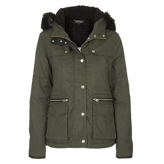 TOPSHOP PETITE Short Padded Parka Jacket (67 AUD) ❤ liked on