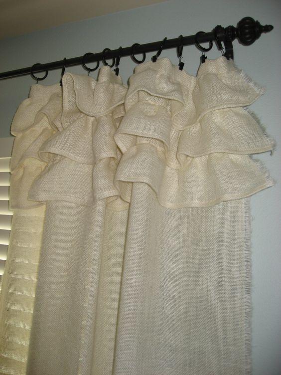 Curtains Ideas cream burlap curtains : Cream burlap ruffled curtain | Burlap Curtains | Pinterest | The o ...