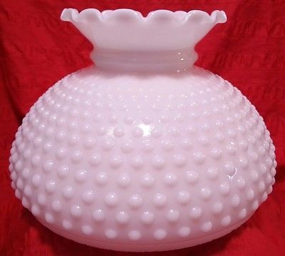 "Vintage Hobnail Milk Glass Student Oil Lamp Shade Ruffled Chute Fits 10"" Holder. #vintage #retro #repurpose #lamp #lampshade #hobnail #diy #design #idea #vase #centerpiece #lighting #old #style #wedding #whiteglass #milkglass #fenton #replacement"